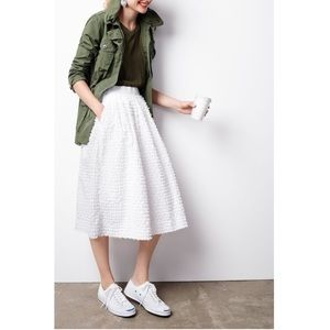 J. crew white midi skirt cotton clip-dot size 00